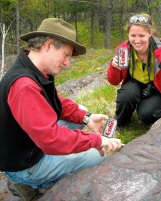 Craig Bina shows me a banded iron formation at Jasper Knob on a trip to the Upper Peninsula of Michigan in 2011.