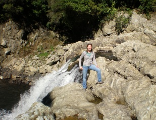 Checking out a waterfall in the Mangatu, 2009.