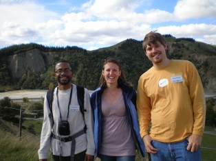 Labmates Kenny Fournillier, Ben Brulet, and myself on a tour of the Waipaoa during the last MARGINS Source2Sink meeting, 2009.