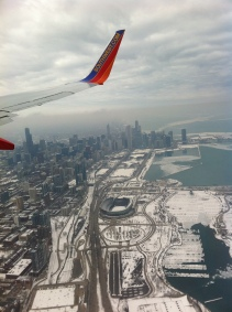 Chicago from the air on my way home during the spring thaw of the lake.