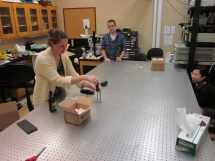 Removing the last piece of the Raman system from our lab in Locy Hall.