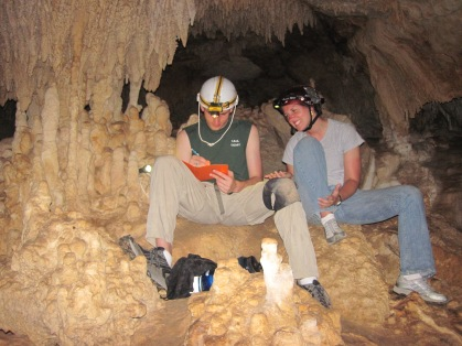 Working with one of our EPS undergrads during some cave mapping, Yucatan 2010.