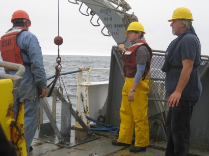 Preparing to core on the R/V Wacoma during the UNOLS Early Career Training Cruise in 2011.